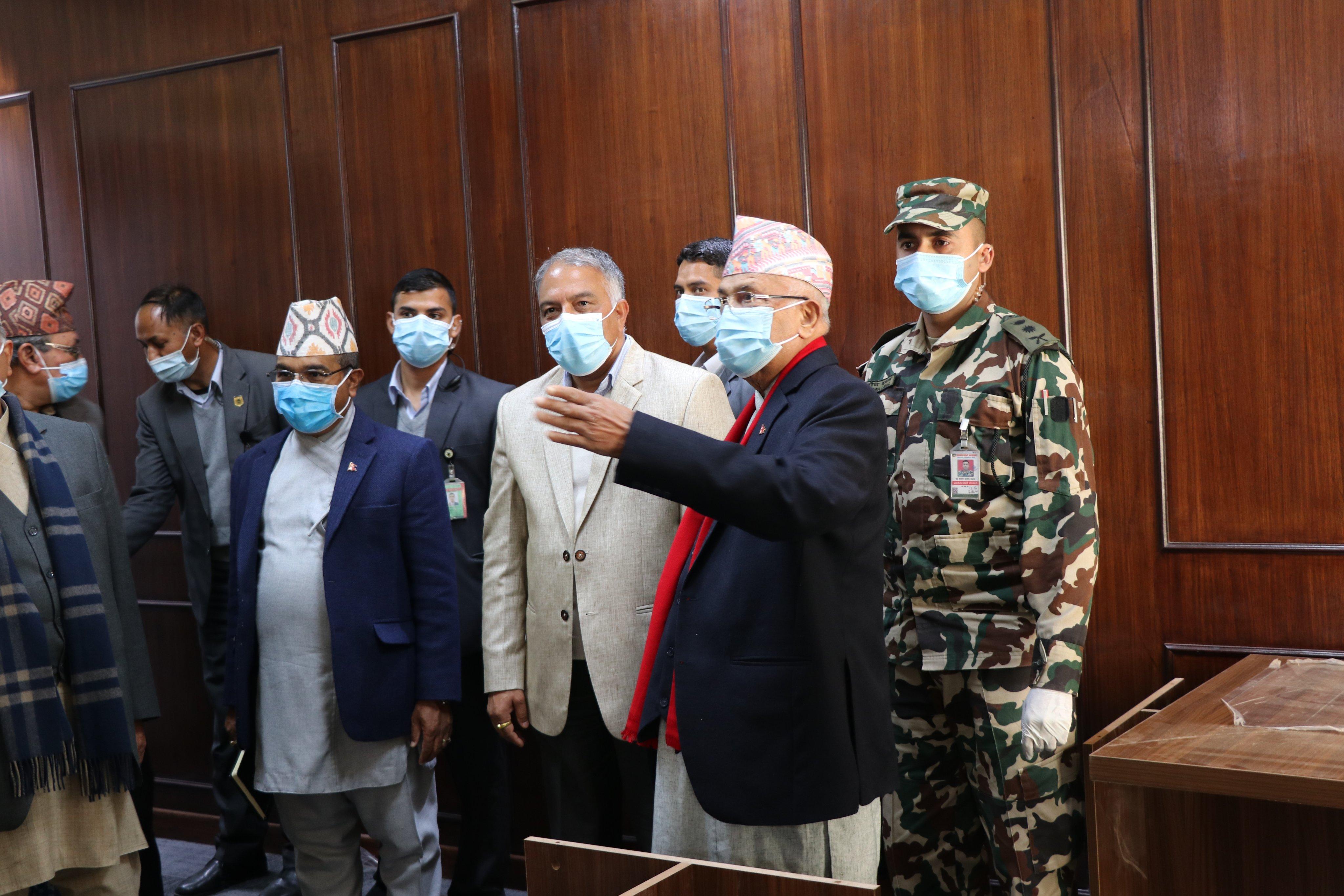 सम्माननीय प्रधानमन्त्री केपी शर्मा ओलीद्वारा  प्रवलीकरण सम्पन्न सिंहदरबारको अवलोकन ।